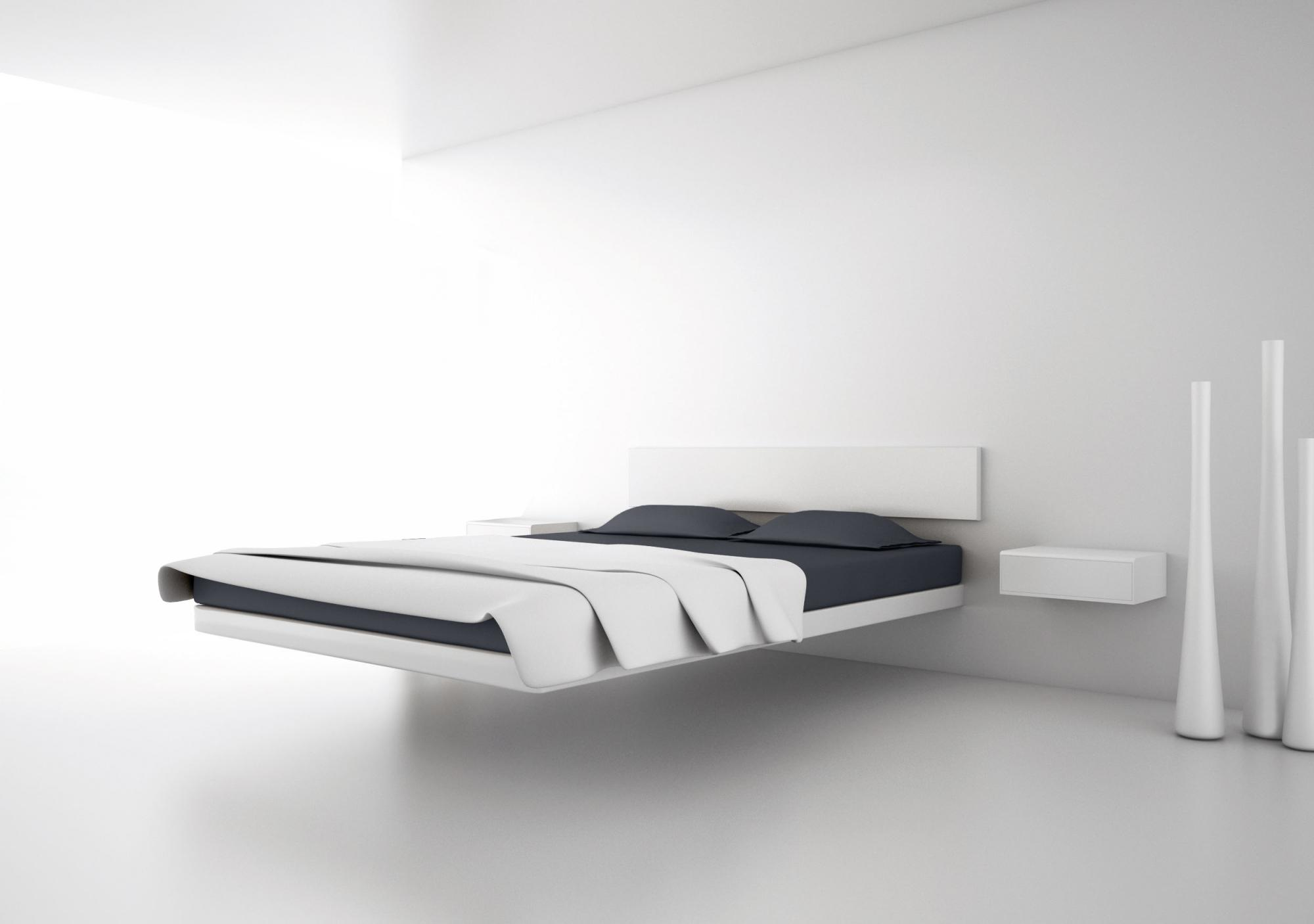 Bedroom Plain Wall Minimalist Concept Alunabedbydolumreserved Levitationbedlitflottantfloatingbed